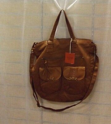 Mossimo Women's Soft Non-Leather Cognac Tote Bag New