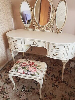 Beautiful Louis IVX style dressing table and matching stool.