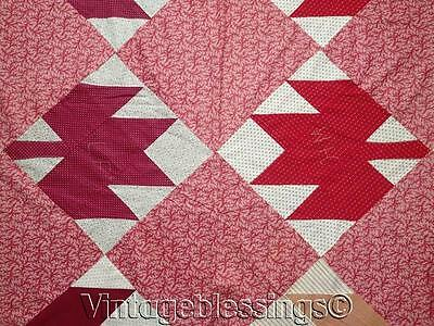 "Classic ANTIQUE c1880 Maple Leaf QUILT TOP 89x74""Gorgeous Fabrics"