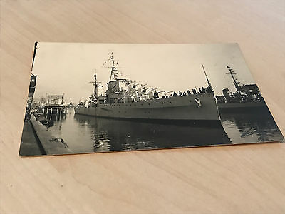 Vintage Real Photo Postcard of Naval Ship in Dock - Oostende