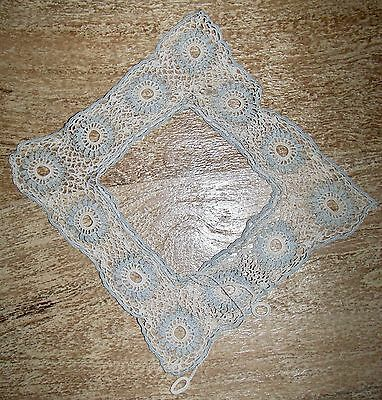 Vintage Handmade Hand Crocheted Child's Cotton Square Lace Blue/White Collar