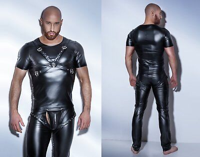 NOIR HANDMADE POWERWETLOOK HARNESS SHIRT clubwear schwarz gothic pvc wetlook gay