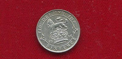 Great Britain 1916 King George V Silver 6 Pence World War I Issue