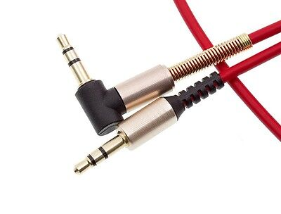 Red 3.5mm L Gold Spring Jack Plug 90° Right Angle Aux Headphones Cable Lead Wire