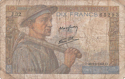 France Banknote - 10 Dix Francs from 1942