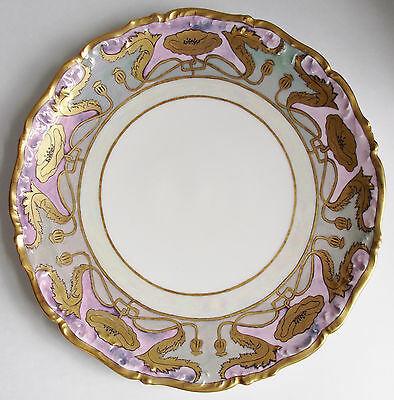 Antique LIMOGES Porcelain POPPY CHARGER PLATE Hand Painted GOLD PURPLE Platter