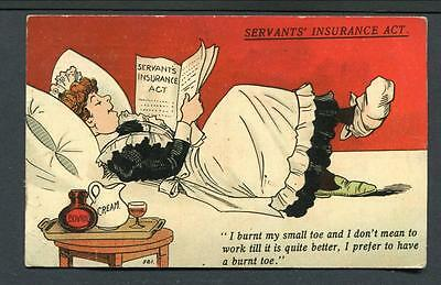 """1908 Used """"servants Insurance Act"""" -- Maid Lying In Bed With Bad Toe !"""