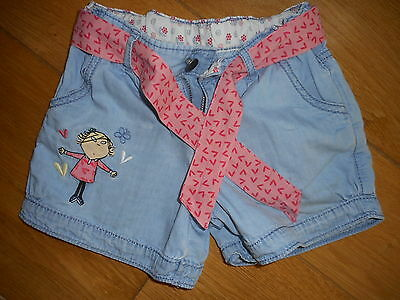 Girls Light Denim Charlie & Lola Cotton Shorts age 4-5 by Marks and Spencer