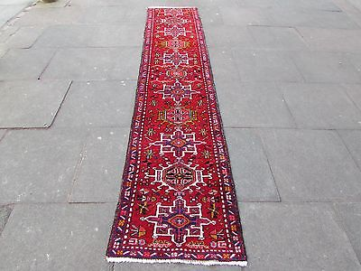 Old Traditional Hand Made Persian Oriental Red Wool Long Narrow Runner 322x67cm