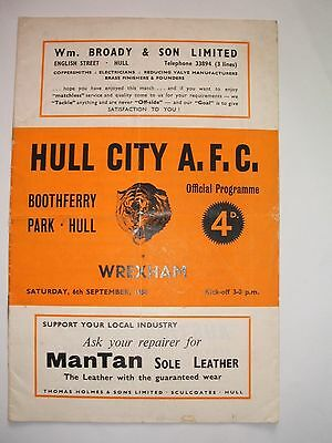 Hull  City   V   Wrexham      06-09-1958.