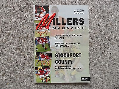 Rotherham United v Stockport County 1993-1994 Mar. 19th Division 2