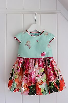 Ted Baker Baby Girl Floral & Bird Print Short Sleeved Lined Dress Age 0-3 Months