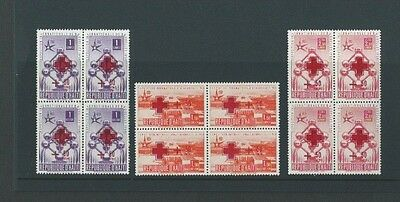 Haiti 1958 UMM Red Cross Surch with Red Cross + 50 Centimes sg 576/8 Blocks of 4