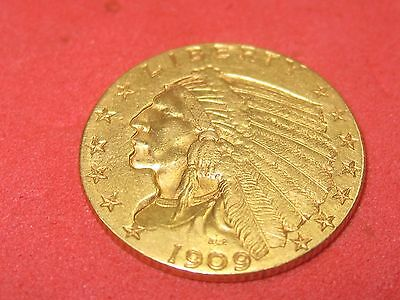 2 1/2 Gold Dollors  coin 1909