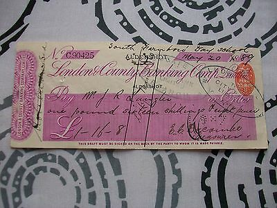 1889, Cheque: London & County Bank. Aldershot + South Farnborough Day School.