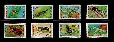 #53 - BULGARIA - INSECTS, DRAGONFLY, ANT, BEE -- COMPL SET of 8 STAMPS - VF M NH