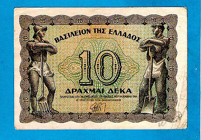 Greece P322 10 Drachmai LABOURER AT RIGHT Kingdom of Greece Issue 9.11.1944 VF+