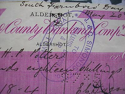 1889, Cheque: London & County Bank. Aldershot + York Town + North Camp Station.