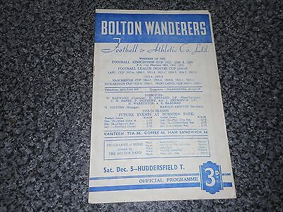 BOLTON WANDERERS  v  HUDDERSFIELD TOWN   1953/4 ~ DEC 5th   VINTAGE  *FREE POST*