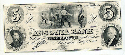 Ansonia (CT) Bank  $5.00 Specimen Note With Reverse AD
