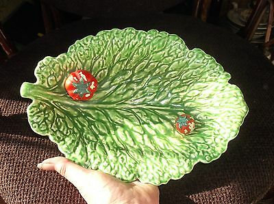 Vintage Sarreguemines French Majolica Tomatoes In Green Cabbage Leaf Dish 5155