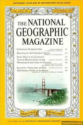 National Geographic NOV 1959 WHOOPING CRANES SEYCHELLES CENSUS  CLIFF DWELLERS