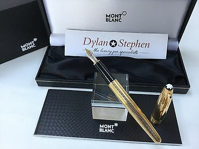 montblanc meisterstuck solitaire  144 solid silver gold vermeil fountain pen