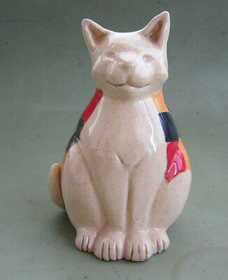 statuette chat assis arlequin faience signé