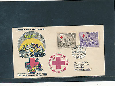 First Day Cover 1956 Philippines, Rec Cross