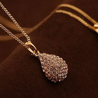 Women Fashion Rhinestone Crystal Gold Teardrop Long Chain Pendant Necklace Gift
