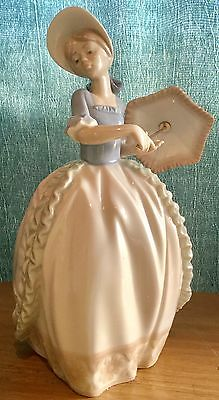 NAO By Lladro Coquette Figurine Girl With Parasol #0741 Rare