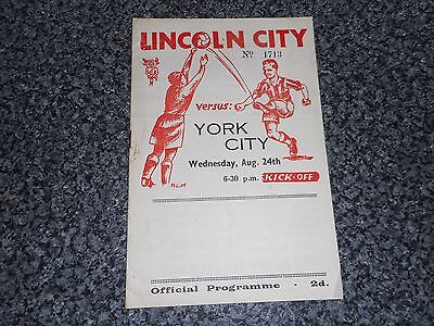 LINCOLN CITY  v  YORK CITY   1949/50  ~  AUGUST 24th   ****FREE POST****