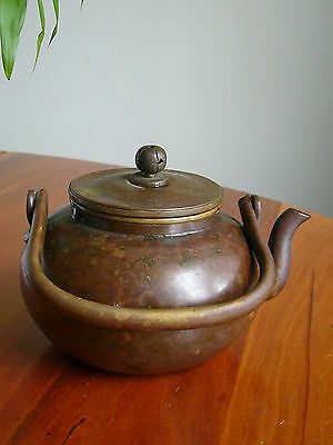 A Lovely Old Small Chinese Brass Tea Pot - Marked On Base.