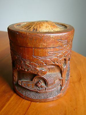 An Lovely Antique Chinese Bamboo Lidded Pot With Carved Decoration - Brush Pot?