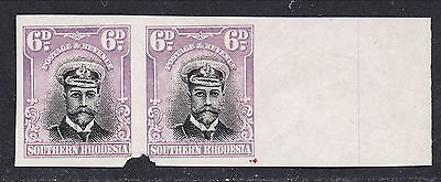 S.RHODESIA 1924 KGV WATERLOW 6d IMPERFORATE PROOFS PAIR MNH.  A147