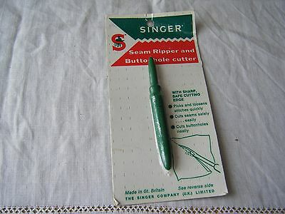 Vintage Singer Seam Ripper & Buttonhole Cutter, Unused In Packet