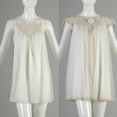 M Vintage 1960s 60s Alice Maloof Lingerie Set Chiffon Babydoll Nightgown Nightie
