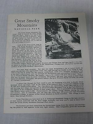1949 RALEIGH NC GREAT SMOKY MOUNTAINS NATIONAL PARK BROCHURE with MAP