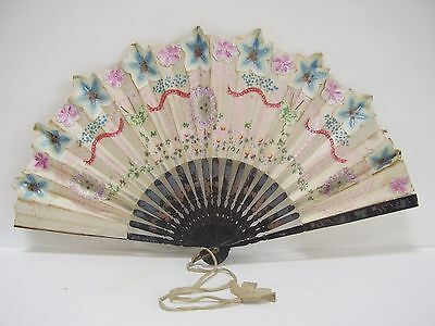 Victorian Japanese Bamboo Hand Painted Lacquer Paper Applique Fan Ribbon Tassel