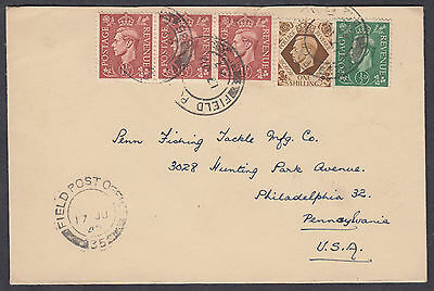 1947 KGVI 1 1/2d strip + 1s +1/2d, Field Post Office/35 CDS to Philadelphia, USA