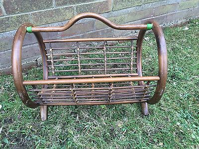 Vintage Bamboo Rounded Magazine Rack Holder~lovely Unusual Style~can Post