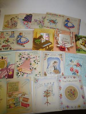 HUGE LOT 19 Vintage 1950s UNUSED GREETING CARDS Birthday Wedding Satin Glitter