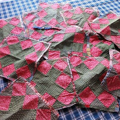 12 Matching Antique Quilt Blocks Overdyed Green Cinnamon Pink