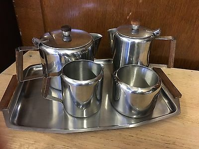 Vintage Mid Century Stainless Steel Tea Pot Coffee Pot Set On Tray Ex Condition
