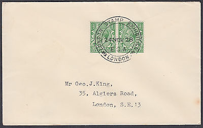 1928 KGV 1/2d green pair, London Stamp Exhibition SHS to George J. King, London