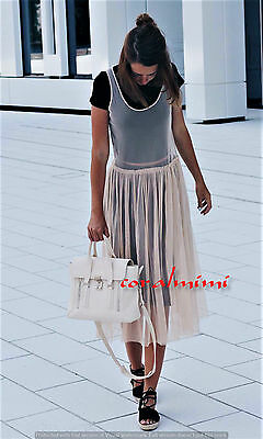 Zara New Pale Pink Gathered Tulle Long Dress Size M