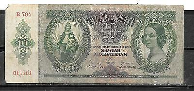 Hungary #100 1936 Vg Circ Old 10 Pengo Banknote Bill Note Paper Money