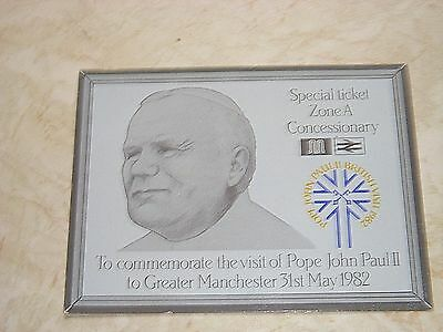 1982 Pope John Paul Ii  Visit Special Train / Bus Concessionary Ticket - Zone A