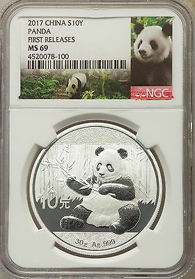 Ten (10) 2017 RC Panda First Release China Panda S10 Yn 30g 999 Silver NGC MS 69
