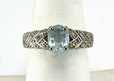 Beautiful Sterling Silver Light Blue Topaz And CZ Band Ring Size 8